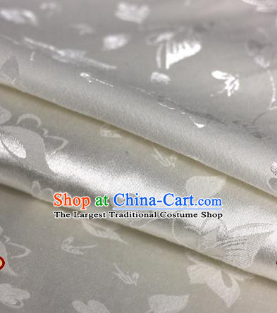 Chinese Traditional Cheongsam Fabric Butterfly Pattern White Brocade Material Hanfu Classical Satin Silk Fabric