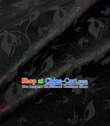 Chinese Traditional Cheongsam Fabric Butterfly Pattern Black Brocade Material Hanfu Classical Satin Silk Fabric