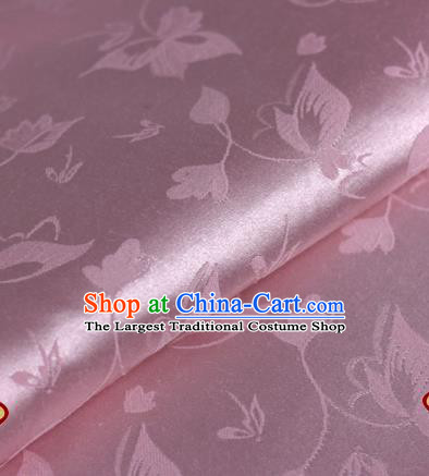 Chinese Traditional Cheongsam Fabric Butterfly Pattern Pink Brocade Material Hanfu Classical Satin Silk Fabric