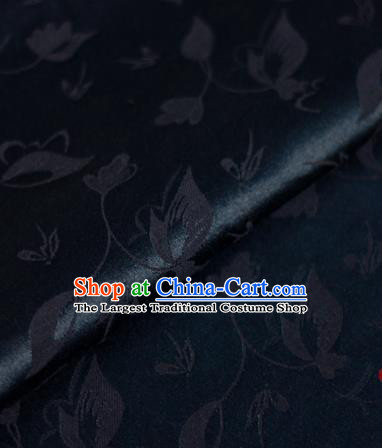Chinese Traditional Cheongsam Fabric Butterfly Pattern Navy Brocade Material Hanfu Classical Satin Silk Fabric