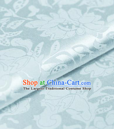 Chinese Traditional Cheongsam Fabric Peony Pattern Blue Brocade Material Hanfu Classical Satin Silk Fabric