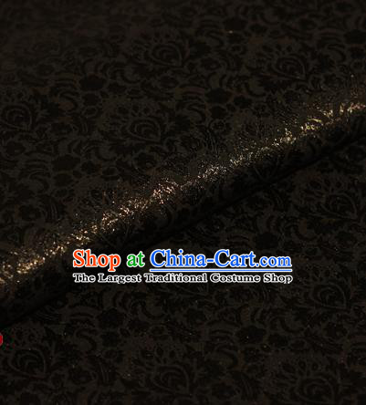 Chinese Traditional Fabric Cheongsam Pattern Black Brocade Material Hanfu Classical Satin Silk Fabric