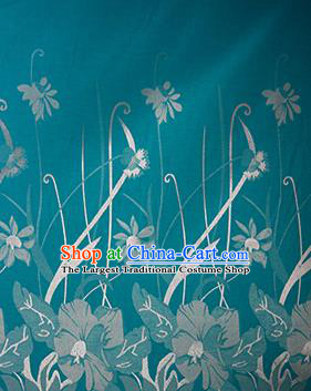 Chinese Traditional Fabric Cheongsam Orchid Pattern Green Brocade Material Hanfu Classical Satin Silk Fabric