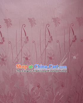 Chinese Traditional Fabric Cheongsam Orchid Pattern Pink Brocade Material Hanfu Classical Satin Silk Fabric