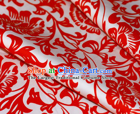 Chinese Traditional Fabric Cheongsam Printing Red Pattern Brocade Material Hanfu Classical Satin Silk Fabric