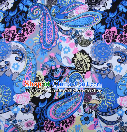 Chinese Traditional Fabric Cheongsam Printing Blue Brocade Material Hanfu Classical Satin Silk Fabric