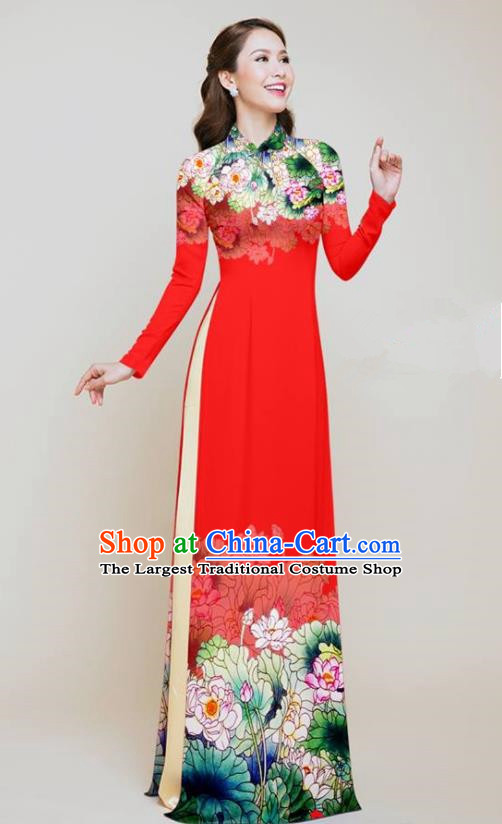 Vietnam Traditional Costume Printing Lotus Red Aodai Cheongsam Asian Vietnamese Bride Classical Qipao Dress for Women
