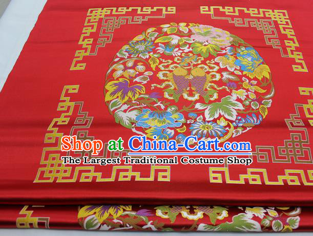 Chinese Traditional Tang Suit Red Brocade Royal Double Fishes Pattern Satin Fabric Material Classical Silk Fabric