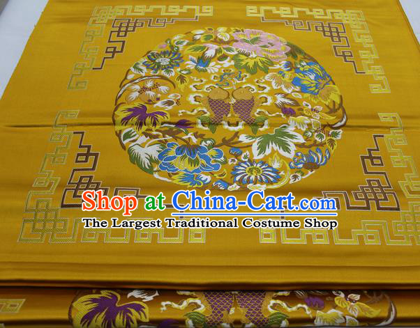 Chinese Traditional Tang Suit Golden Brocade Royal Double Fishes Pattern Satin Fabric Material Classical Silk Fabric