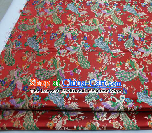 Chinese Traditional Tang Suit Royal Peacock Pattern Red Brocade Satin Fabric Material Classical Silk Fabric