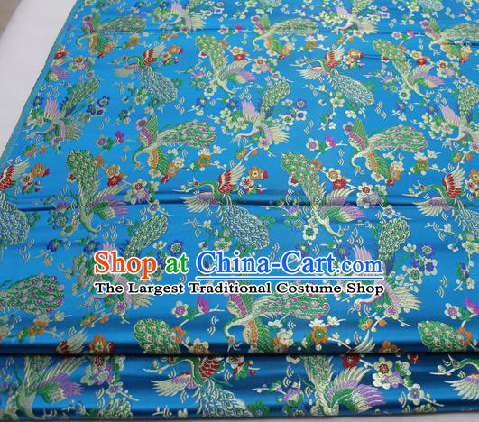 Chinese Traditional Tang Suit Royal Peacock Pattern Blue Brocade Satin Fabric Material Classical Silk Fabric
