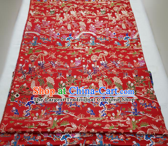 Chinese Traditional Tang Suit Royal Hundred Children Pattern Red Brocade Satin Fabric Material Classical Silk Fabric