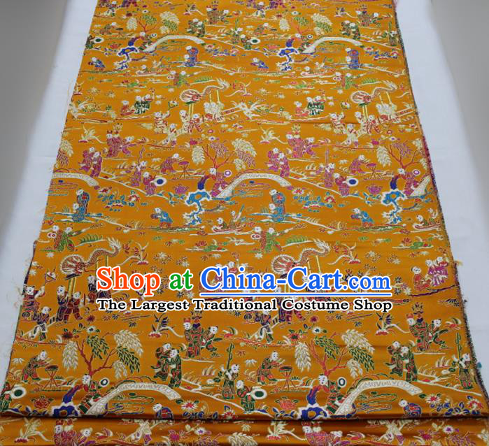 Chinese Traditional Tang Suit Royal Hundred Children Pattern Golden Brocade Satin Fabric Material Classical Silk Fabric