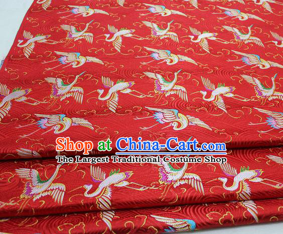Chinese Traditional Tang Suit Royal Cranes Pattern Red Brocade Satin Fabric Material Classical Silk Fabric