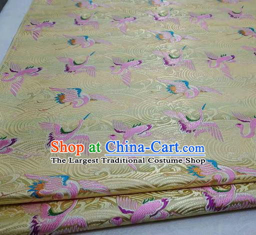 Chinese Traditional Tang Suit Royal Cranes Pattern Yellow Brocade Satin Fabric Material Classical Silk Fabric