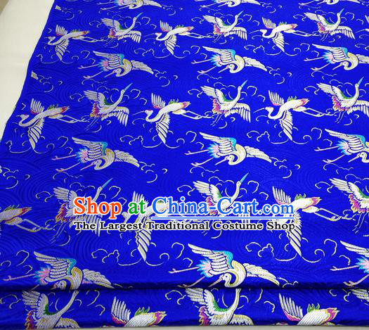 Chinese Traditional Tang Suit Royal Cranes Pattern Royalblue Brocade Satin Fabric Material Classical Silk Fabric