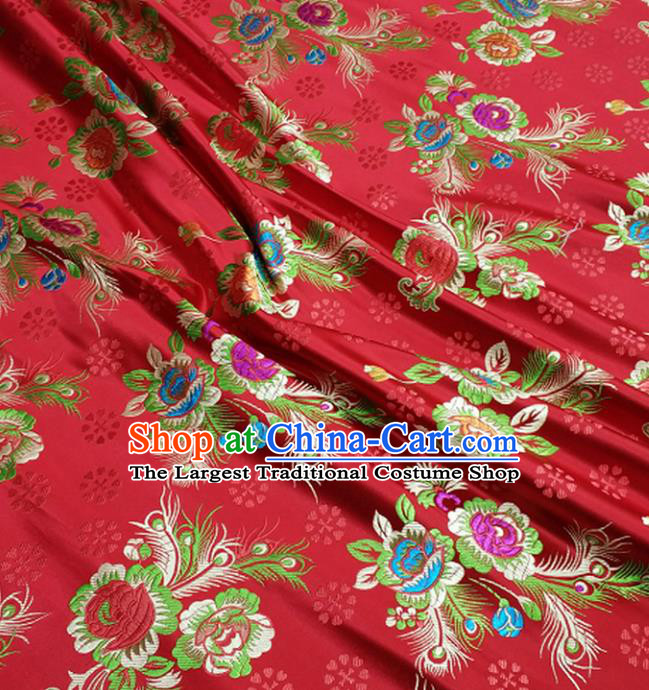 Chinese Traditional Tang Suit Royal Feather Peony Pattern Red Brocade Satin Fabric Material Classical Silk Fabric