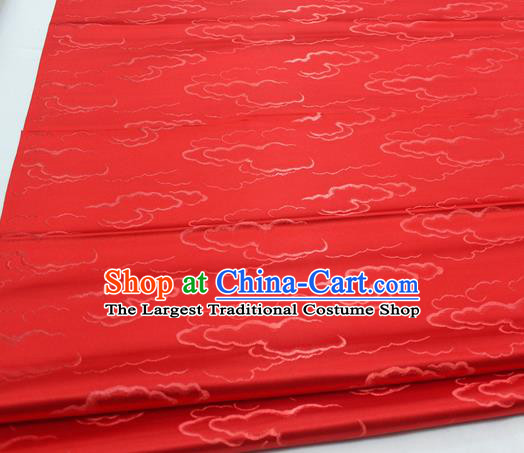 Chinese Traditional Tang Suit Royal Clouds Pattern Red Brocade Satin Fabric Material Classical Silk Fabric