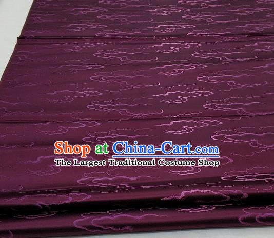 Chinese Traditional Tang Suit Royal Clouds Pattern Amaranth Brocade Satin Fabric Material Classical Silk Fabric
