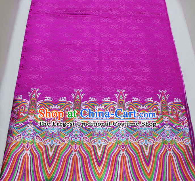 Asian Chinese Traditional Tang Suit Royal Waves Pattern Rosy Brocade Satin Fabric Material Classical Silk Fabric