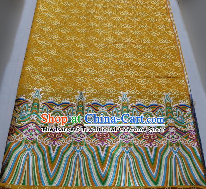 Asian Chinese Traditional Tang Suit Royal Waves Pattern Golden Brocade Satin Fabric Material Classical Silk Fabric