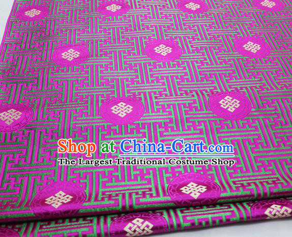 Asian Chinese Traditional Tang Suit Royal Lucky Knot Pattern Rosy Brocade Satin Fabric Material Classical Silk Fabric
