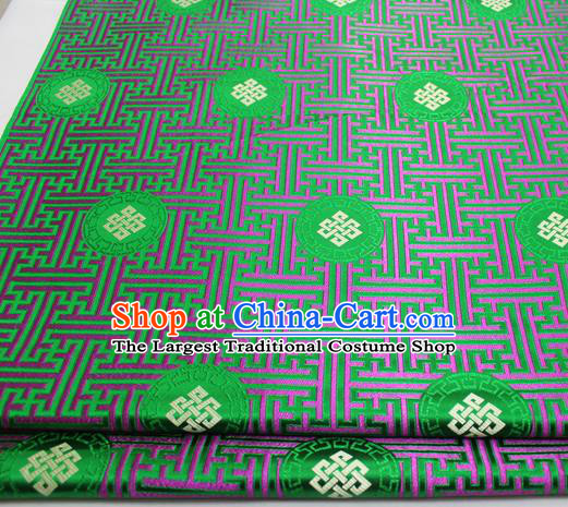 Asian Chinese Traditional Tang Suit Royal Lucky Knot Pattern Green Brocade Satin Fabric Material Classical Silk Fabric