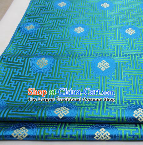Asian Chinese Traditional Tang Suit Royal Lucky Knot Pattern Blue Brocade Satin Fabric Material Classical Silk Fabric