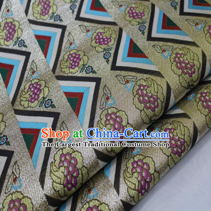 Asian Chinese Traditional Tang Suit Royal Grapes Pattern Brocade Satin Fabric Material Classical Silk Fabric