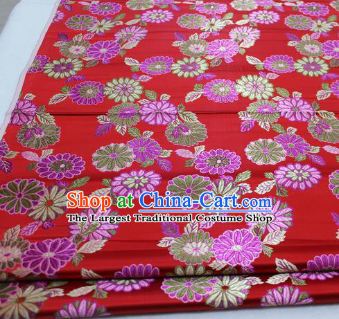 Asian Chinese Traditional Tang Suit Royal Chrysanthemum Pattern Red Brocade Satin Fabric Material Classical Silk Fabric