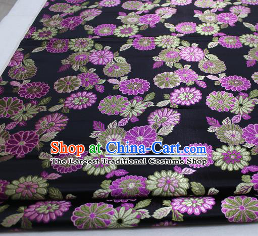Asian Chinese Traditional Tang Suit Royal Chrysanthemum Pattern Black Brocade Satin Fabric Material Classical Silk Fabric