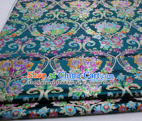 Asian Chinese Traditional Tang Suit Royal Peony Vase Pattern Deep Green Brocade Satin Fabric Material Classical Silk Fabric