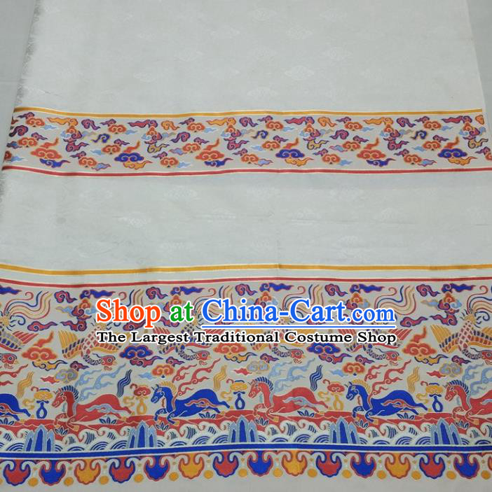 Chinese Traditional Fabric Royal Clouds Phoenix Pattern White Brocade Material Hanfu Classical Satin Silk Fabric
