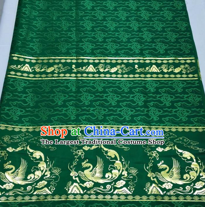 Chinese Traditional Fabric Royal Phoenix Pattern Green Brocade Material Hanfu Classical Satin Silk Fabric