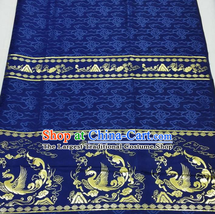 Chinese Traditional Fabric Royal Phoenix Pattern Royalblue Brocade Material Hanfu Classical Satin Silk Fabric