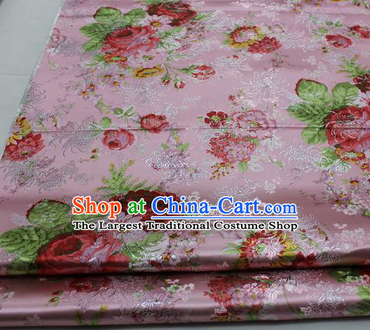 Chinese Traditional Fabric Royal Peony Pattern Pink Brocade Material Hanfu Classical Satin Silk Fabric