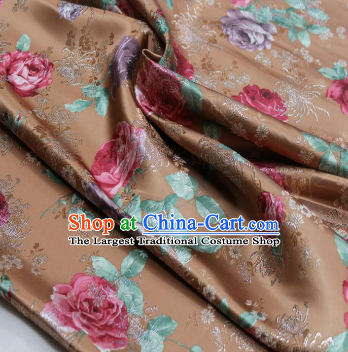 Chinese Traditional Fabric Royal Peony Pattern Brown Brocade Material Hanfu Classical Satin Silk Fabric