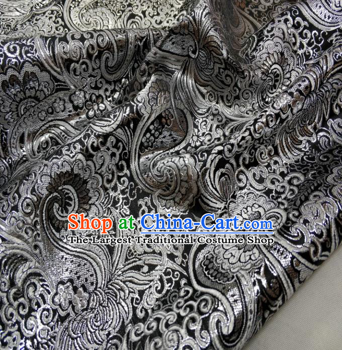 Chinese Traditional Fabric Royal Pattern Black Brocade Material Hanfu Classical Satin Silk Fabric