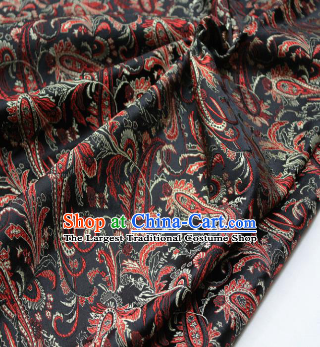 Chinese Traditional Fabric Royal Pipa Flowers Pattern Black Brocade Material Hanfu Classical Satin Silk Fabric
