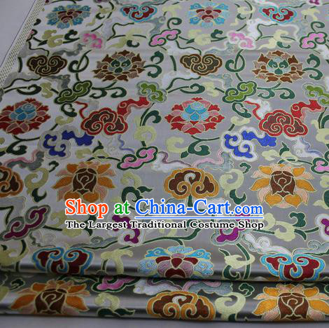 Chinese Traditional Fabric Royal Lotus Pattern White Brocade Material Hanfu Classical Satin Silk Fabric