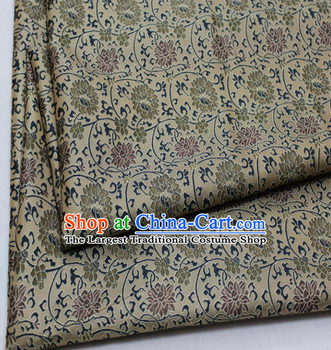Chinese Traditional Fabric Royal Lotus Pattern Song Brocade Material Hanfu Classical Satin Silk Fabric