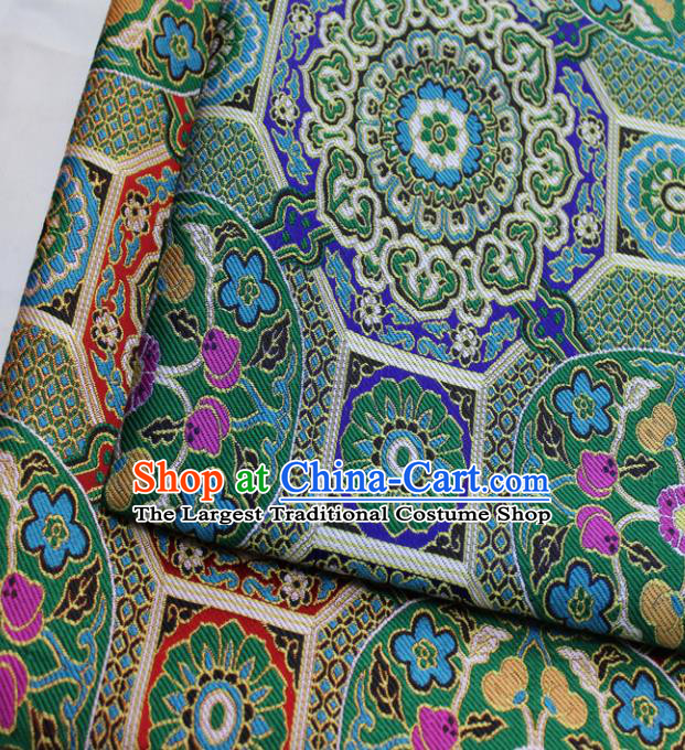 Chinese Traditional Tang Suit Fabric Royal Pattern Green Brocade Material Hanfu Classical Satin Silk Fabric