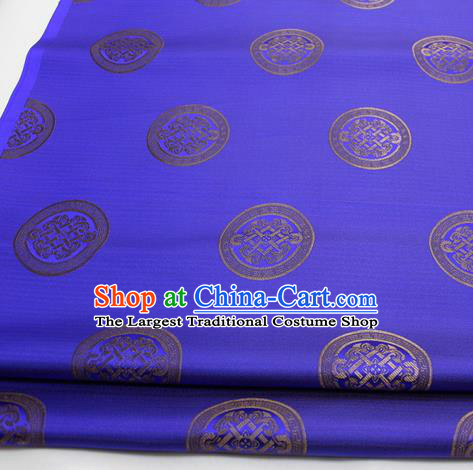 Chinese Traditional Tang Suit Fabric Royal Lucky Pattern Royalblue Brocade Material Hanfu Classical Satin Silk Fabric