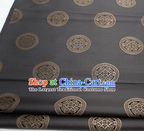 Chinese Traditional Tang Suit Fabric Royal Lucky Pattern Deep Grey Brocade Material Hanfu Classical Satin Silk Fabric