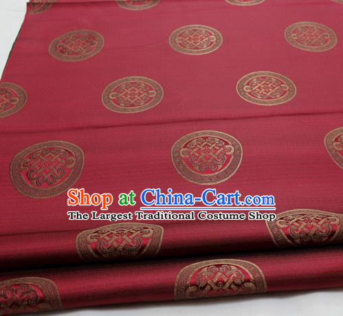 Chinese Traditional Tang Suit Fabric Royal Lucky Pattern Wine Red Brocade Material Hanfu Classical Satin Silk Fabric