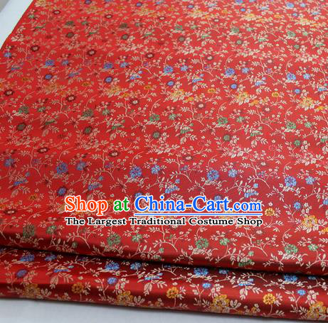 Chinese Traditional Tang Suit Fabric Royal Pepper Flowers Pattern Red Brocade Material Hanfu Classical Satin Silk Fabric