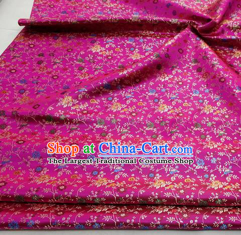 Chinese Traditional Tang Suit Fabric Royal Pepper Flowers Pattern Rosy Brocade Material Hanfu Classical Satin Silk Fabric