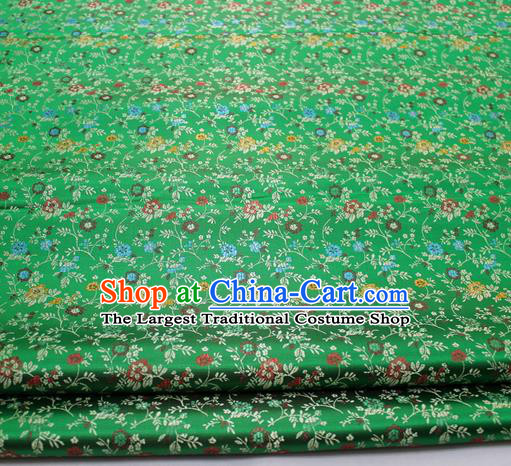 Chinese Traditional Tang Suit Fabric Royal Pepper Flowers Pattern Green Brocade Material Hanfu Classical Satin Silk Fabric