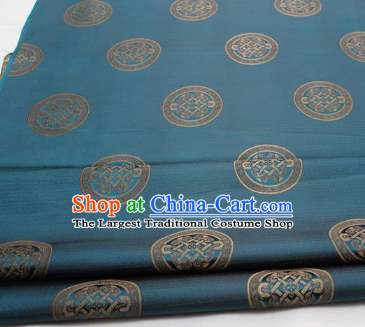 Chinese Traditional Tang Suit Fabric Royal Lucky Pattern Blue Brocade Material Hanfu Classical Satin Silk Fabric