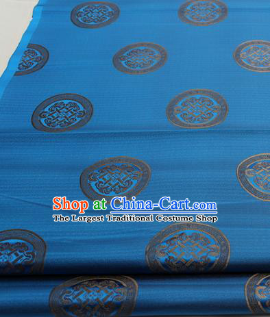 Chinese Traditional Tang Suit Fabric Royal Lucky Pattern Deep Blue Brocade Material Hanfu Classical Satin Silk Fabric